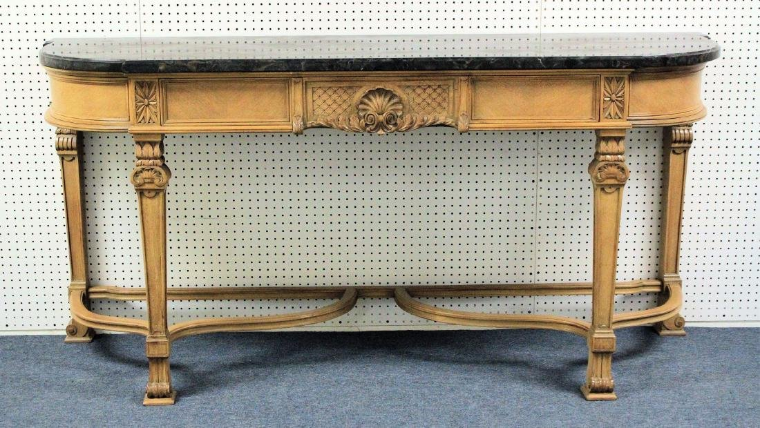 Louis XIV-Style Black Marble Top Console Table