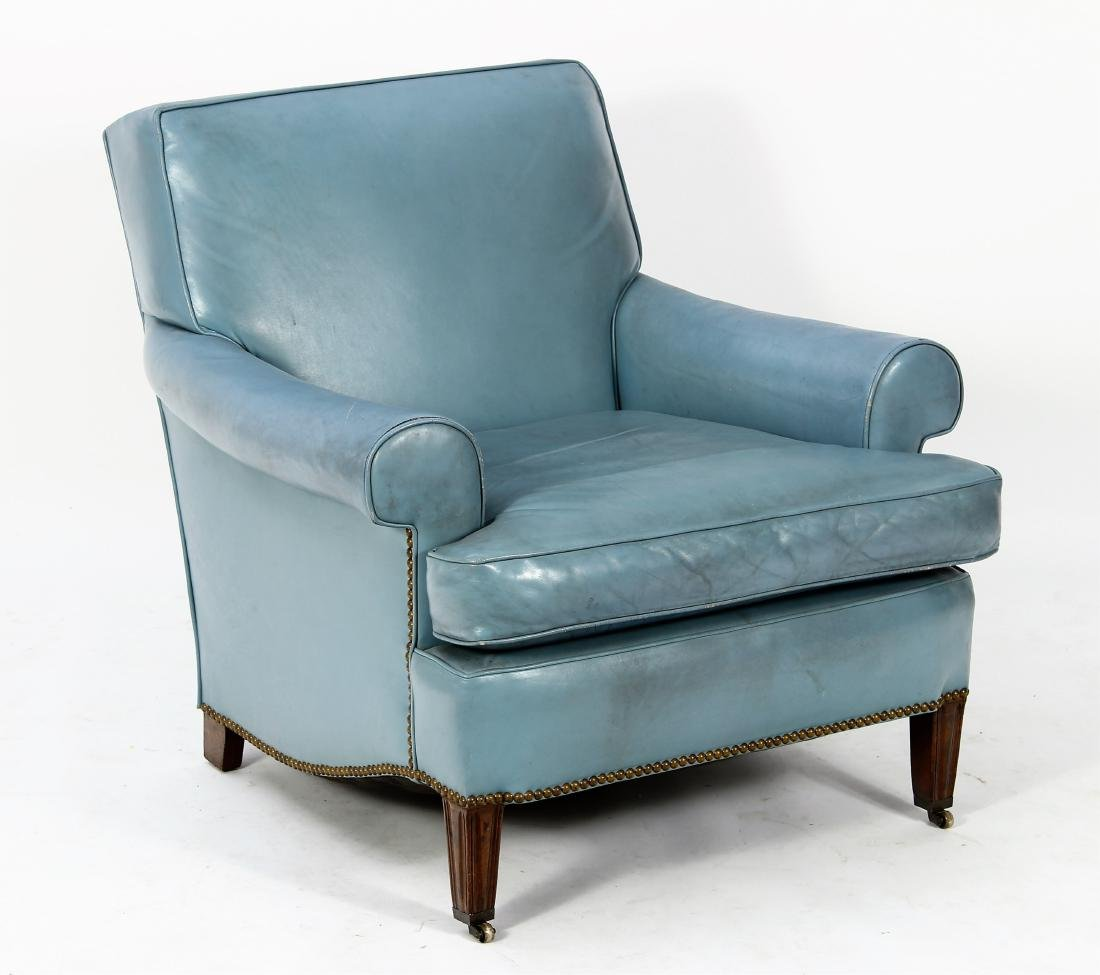 Blue Leather Upholstered Rolled Arm Club Chair