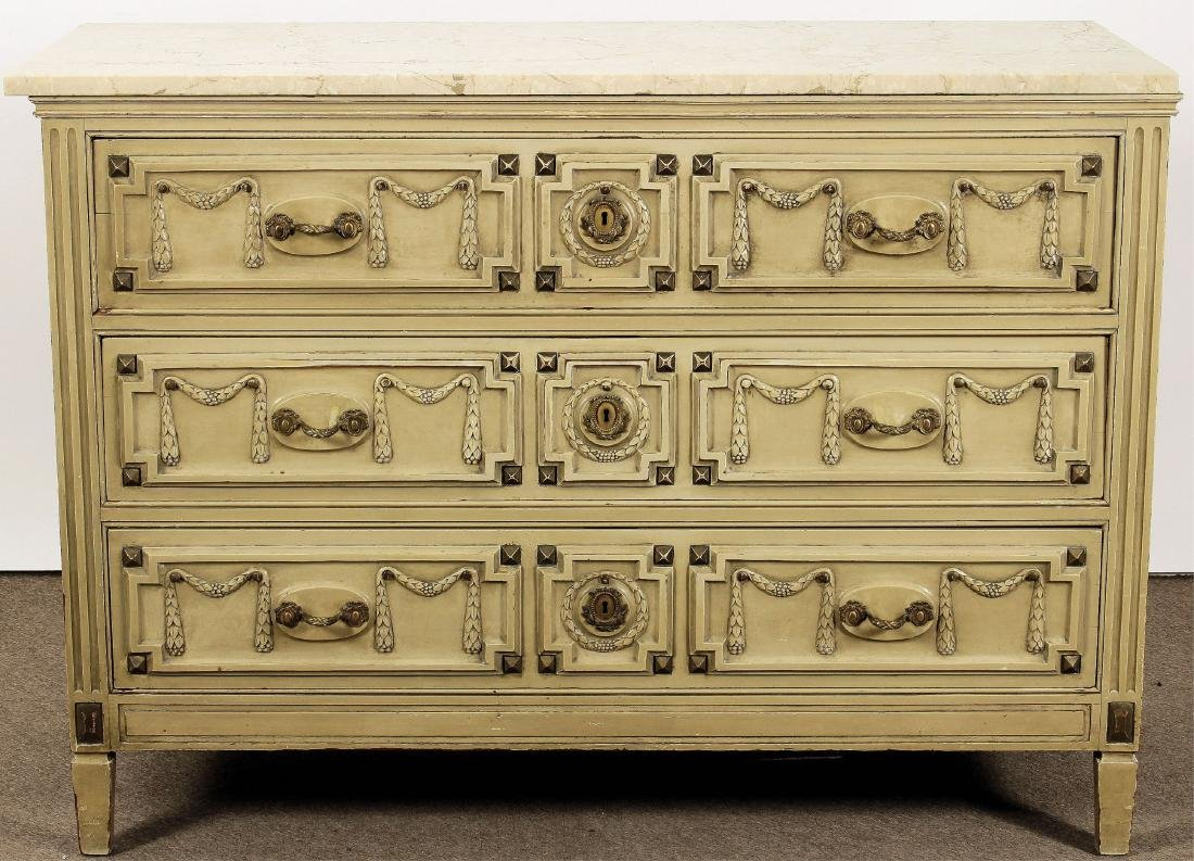 French Provincial Style Marble Top Chest