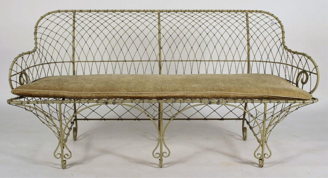 Antique French Ivory Painted Iron Wire Settee
