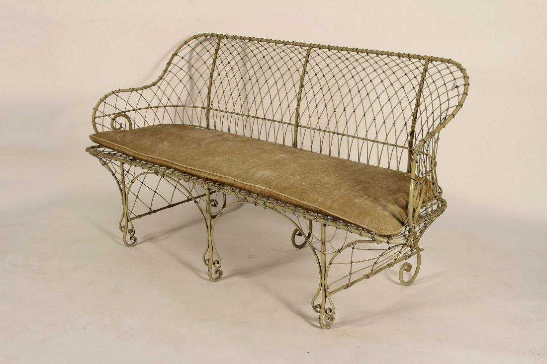 Antique French Ivory Painted Iron Wire Settee - 2