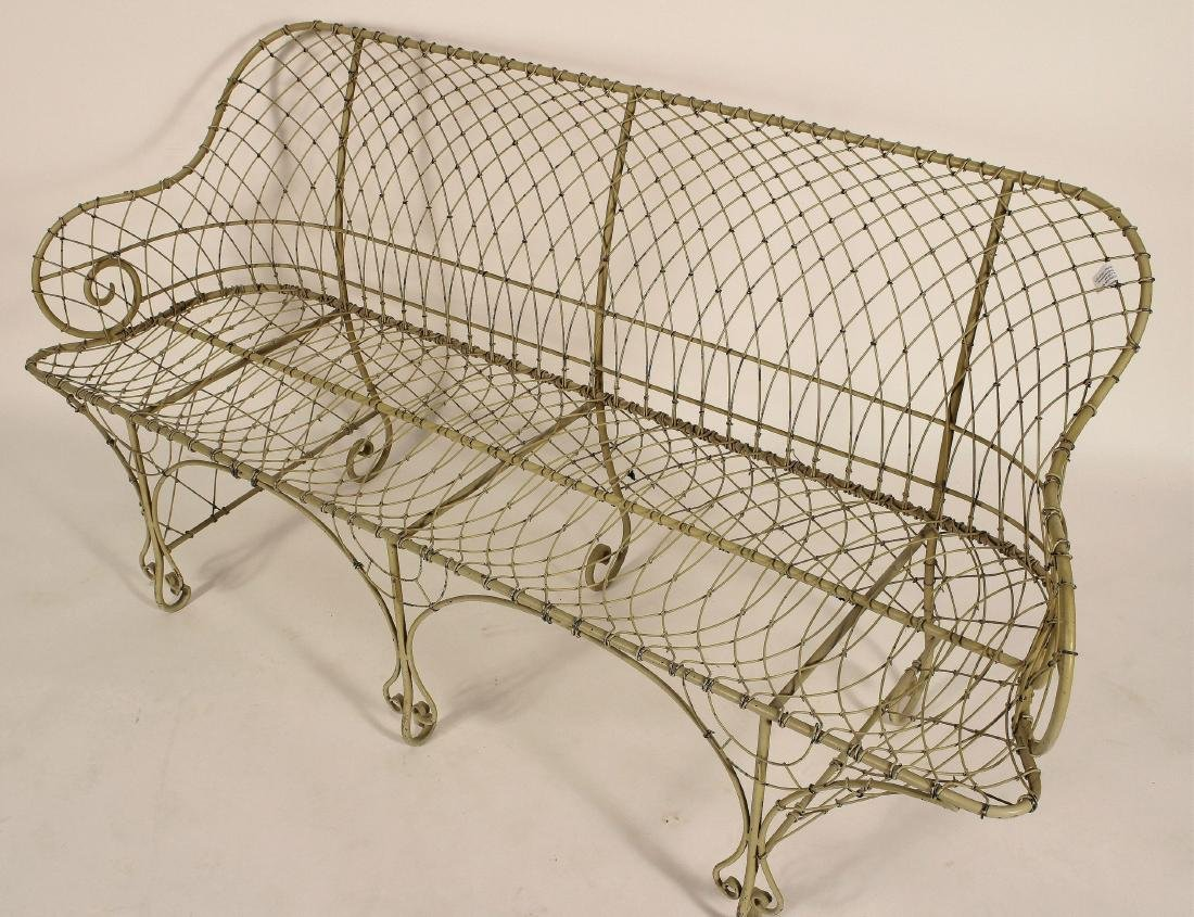 Antique French Ivory Painted Iron Wire Settee - 3