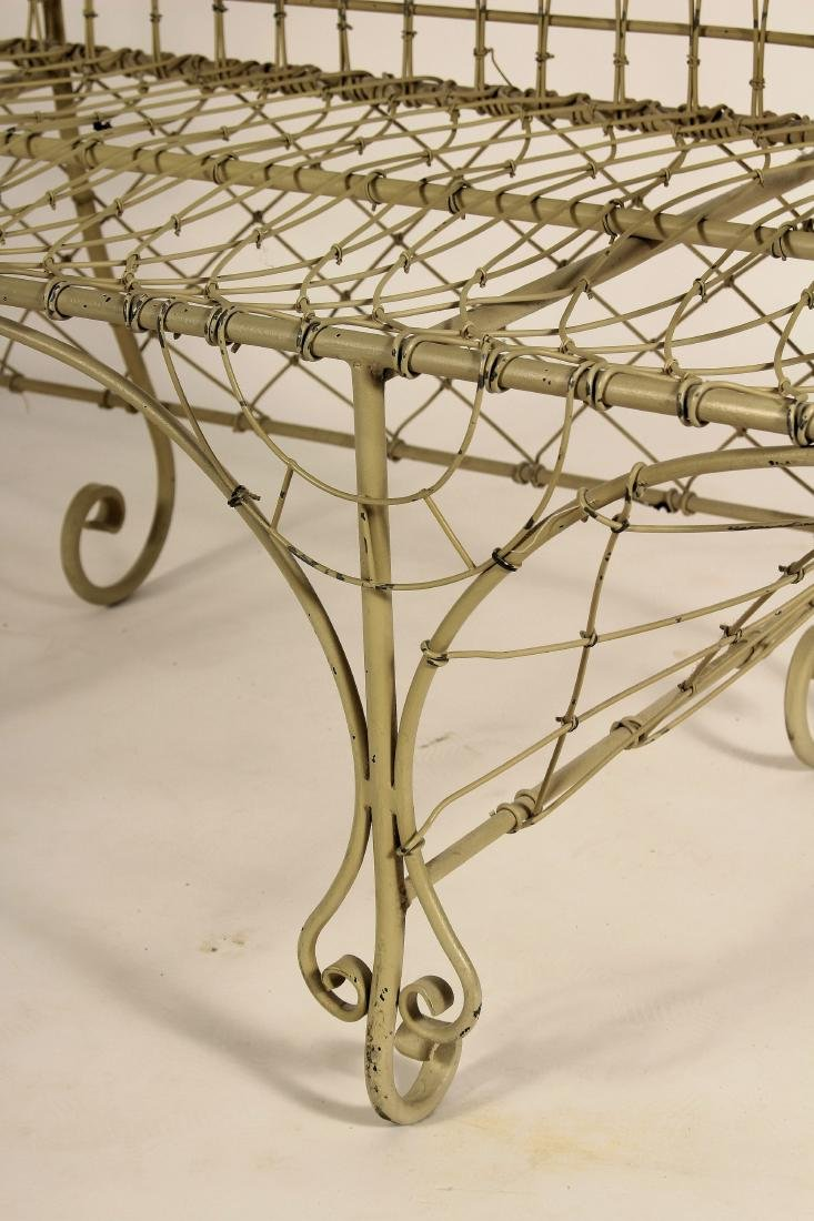 Antique French Ivory Painted Iron Wire Settee - 4