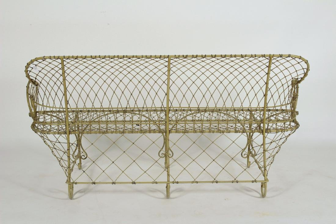 Antique French Ivory Painted Iron Wire Settee - 5