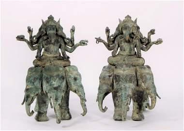 Large Antique Bronze Pair of Ganesha on Elephant