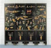 Chinese Screen,  Hardstone Figures in Landscape
