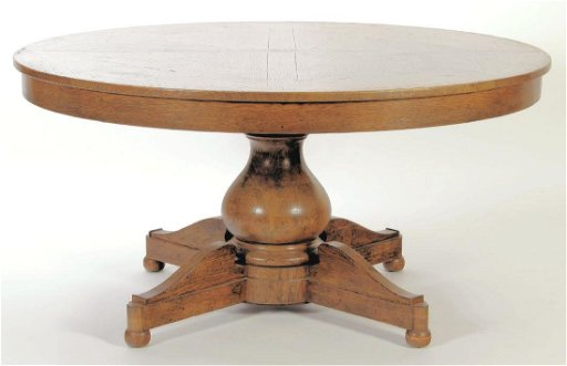 60 Round Oak Extending Dining Table