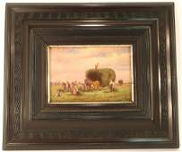 L Muller-Cornelius 1864-1946, Peasants Haying, O/P