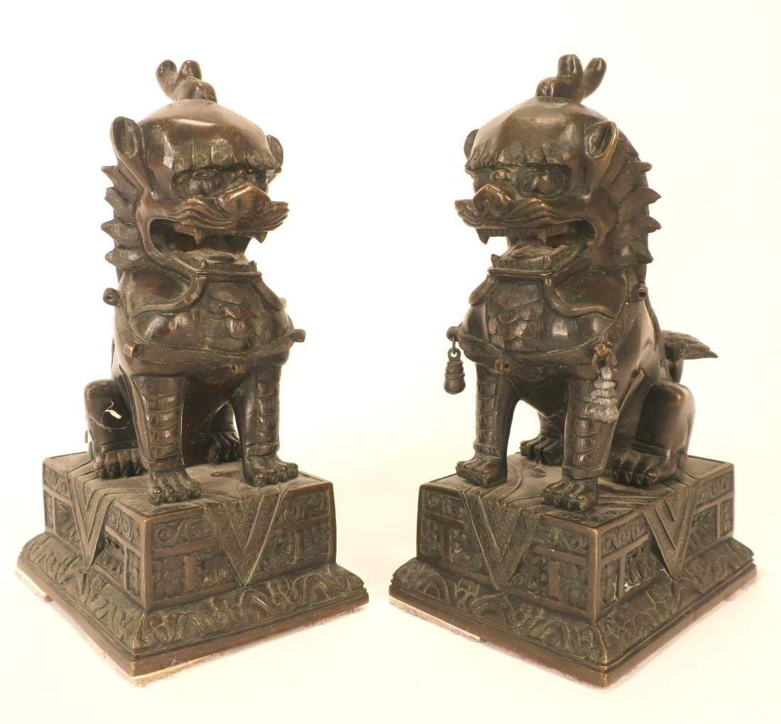 Pair of Finely Cast Bronze Foo Lions