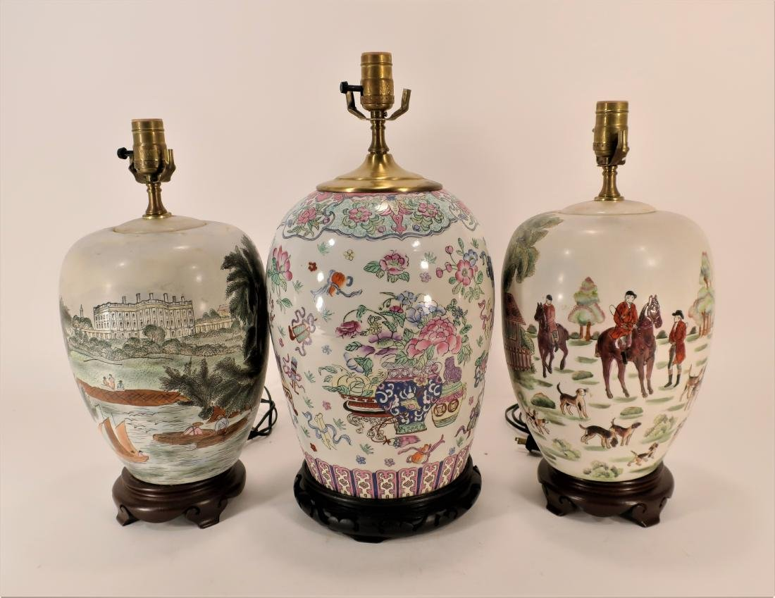 3 Chinese Porcelain Ginger Jars as Lamps