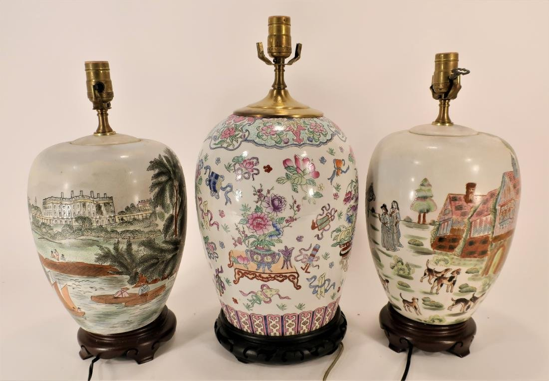 3 Chinese Porcelain Ginger Jars as Lamps - 2