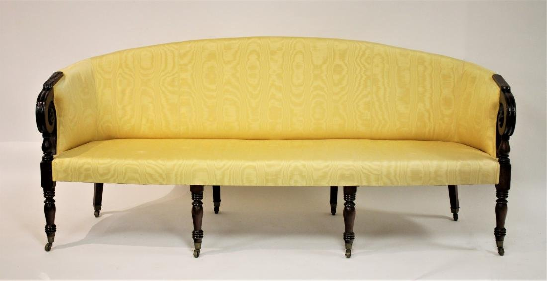 Period Sheraton Mahogany Sofa in Yellow Damask