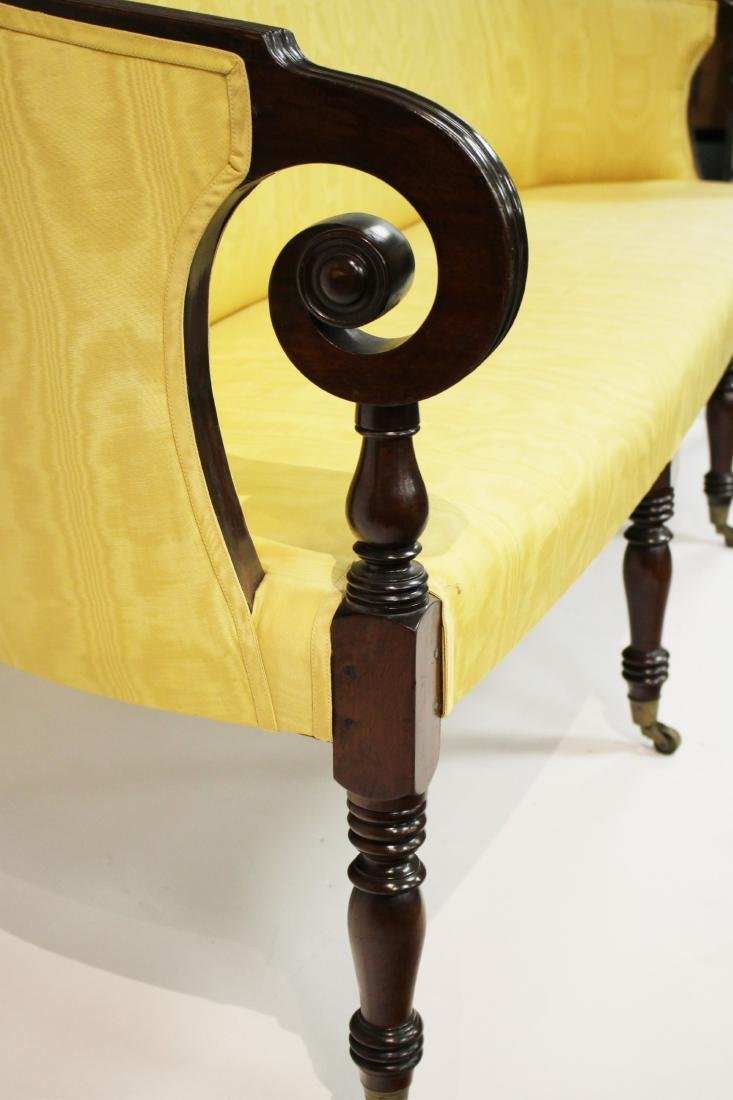 Period Sheraton Mahogany Sofa in Yellow Damask - 2