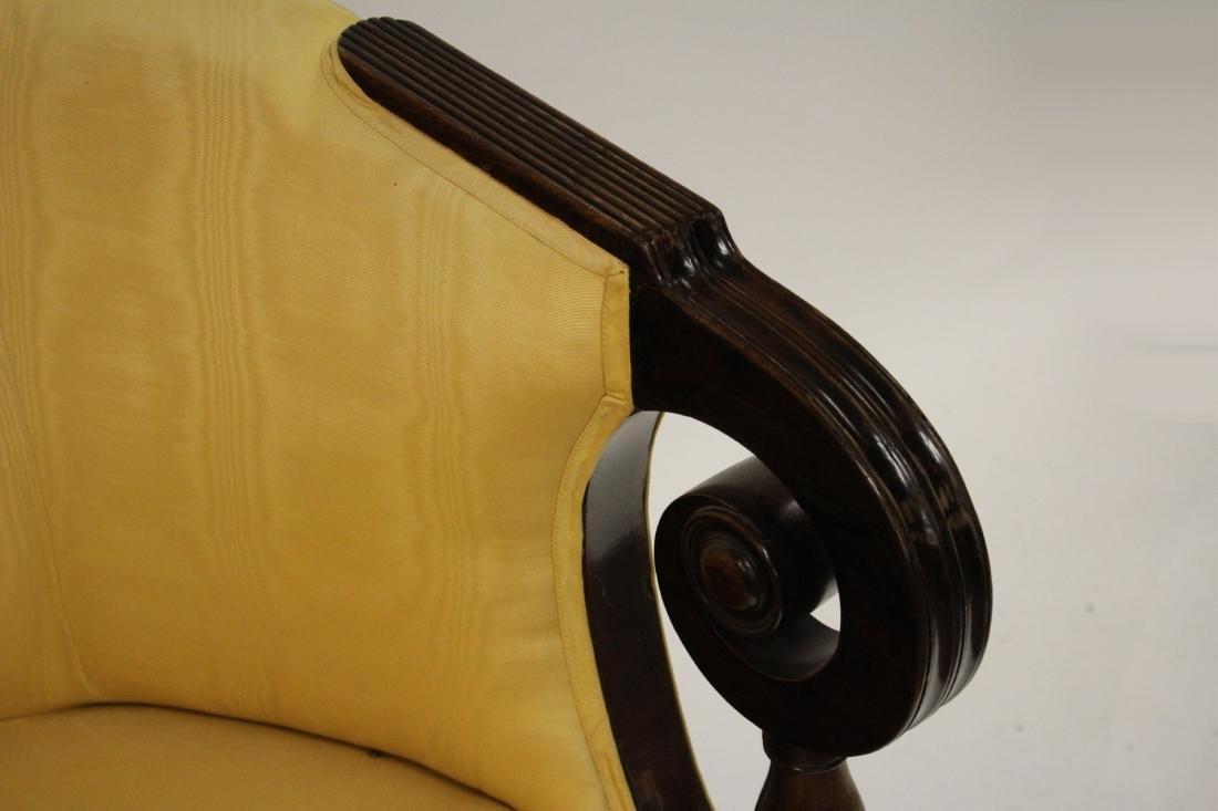 Period Sheraton Mahogany Sofa in Yellow Damask - 3