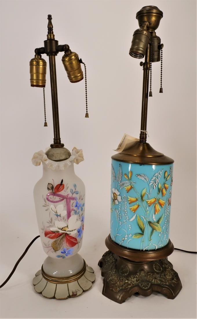 2 Floral Decorated Glass/Metal Table Lamps