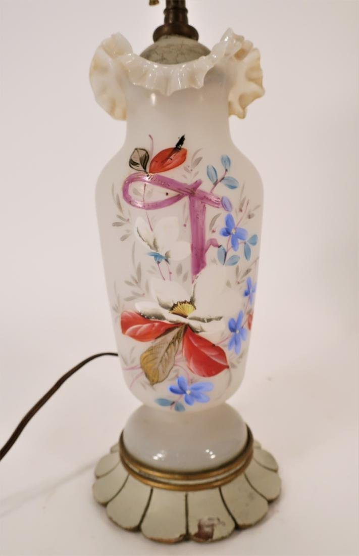 2 Floral Decorated Glass/Metal Table Lamps - 4