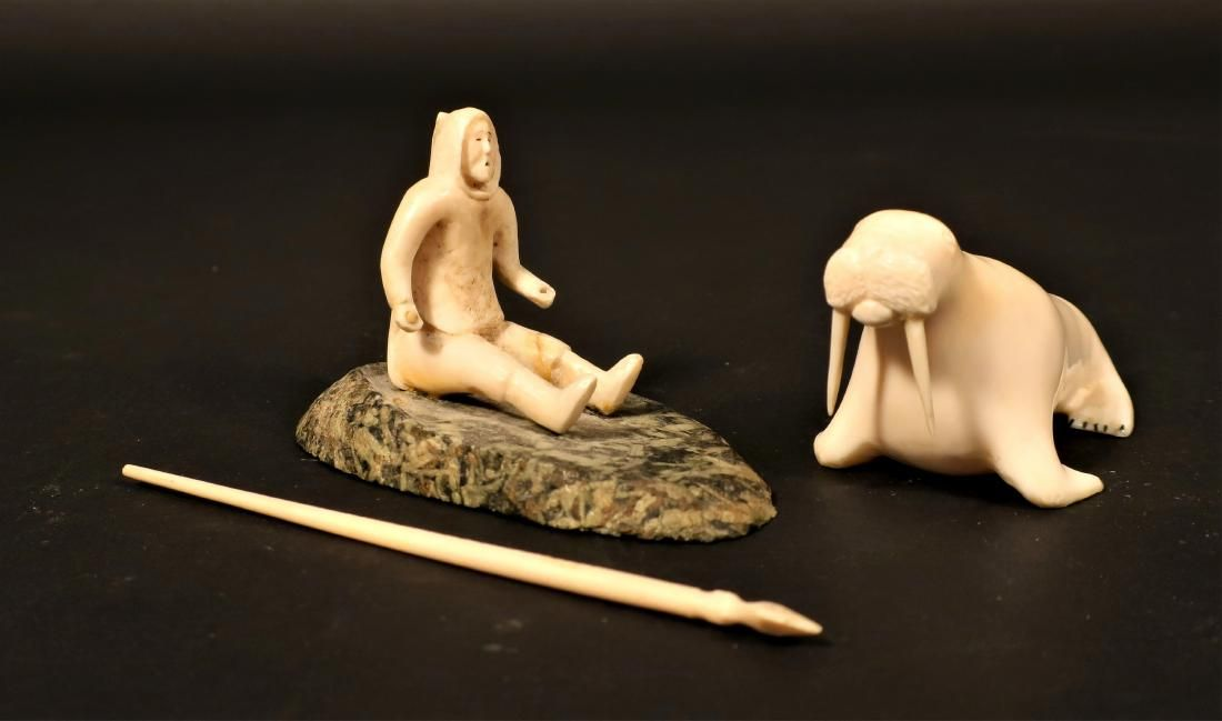 Two Pieces Inuit Art - Fred Kingeekuk