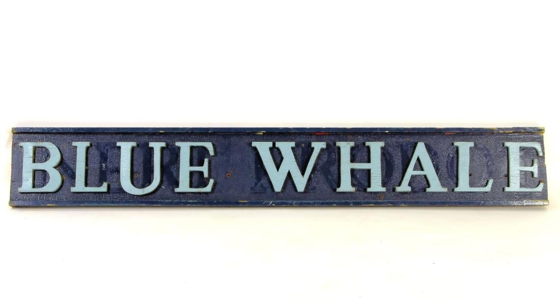 Vintage BLUE WHALE Painted Wood Advertising Sign