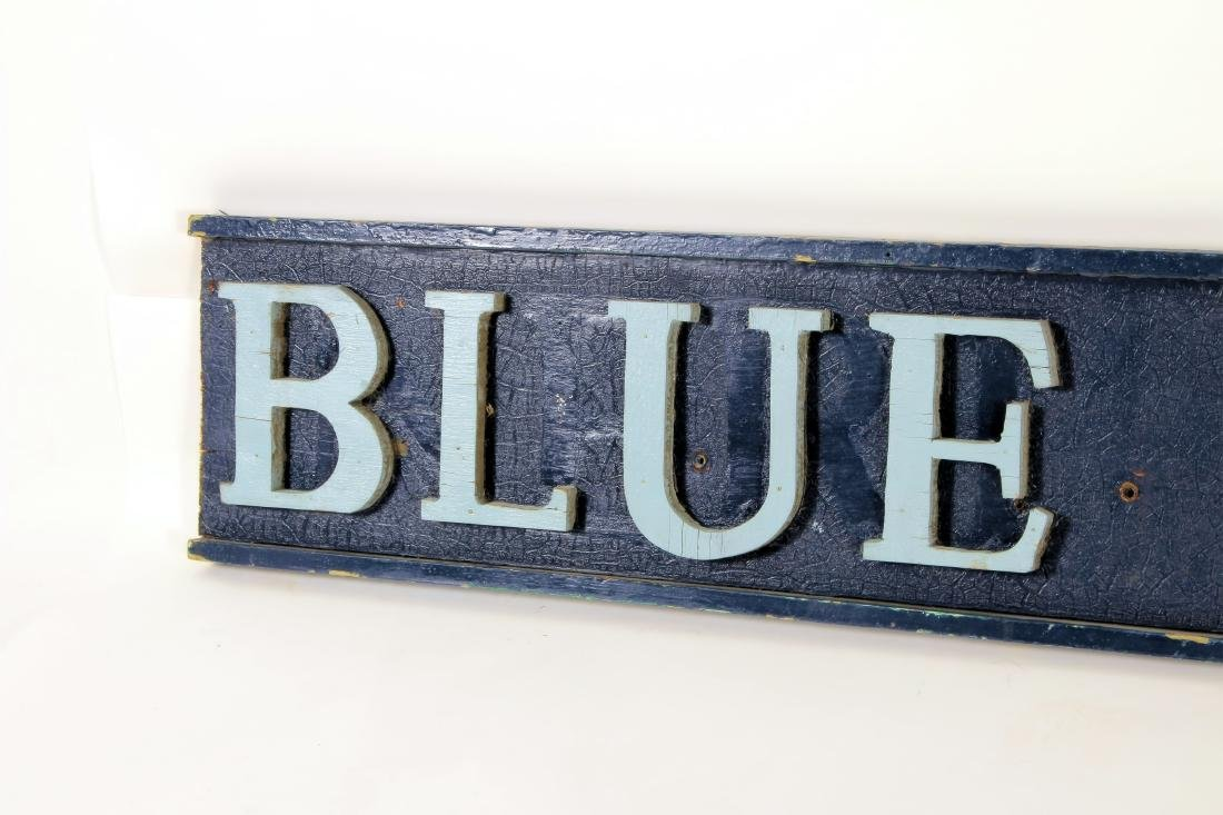 Vintage BLUE WHALE Painted Wood Advertising Sign - 2