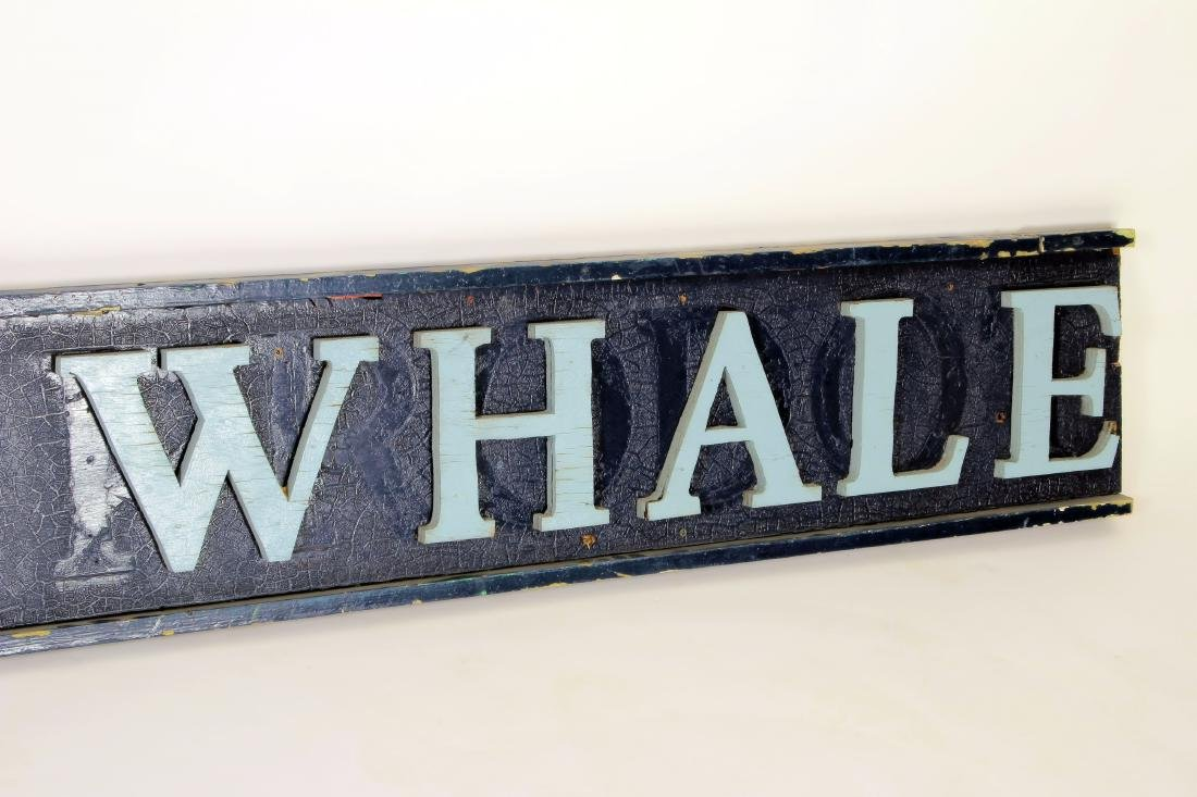 Vintage BLUE WHALE Painted Wood Advertising Sign - 3