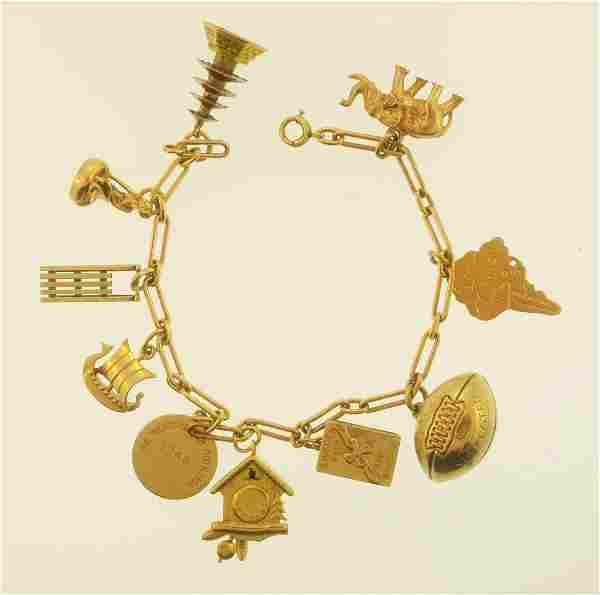 14k Gold 10 Charm Bracelet
