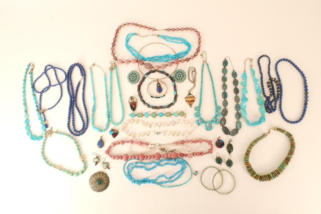 Group of Turquoise Beaded Necklaces and Others