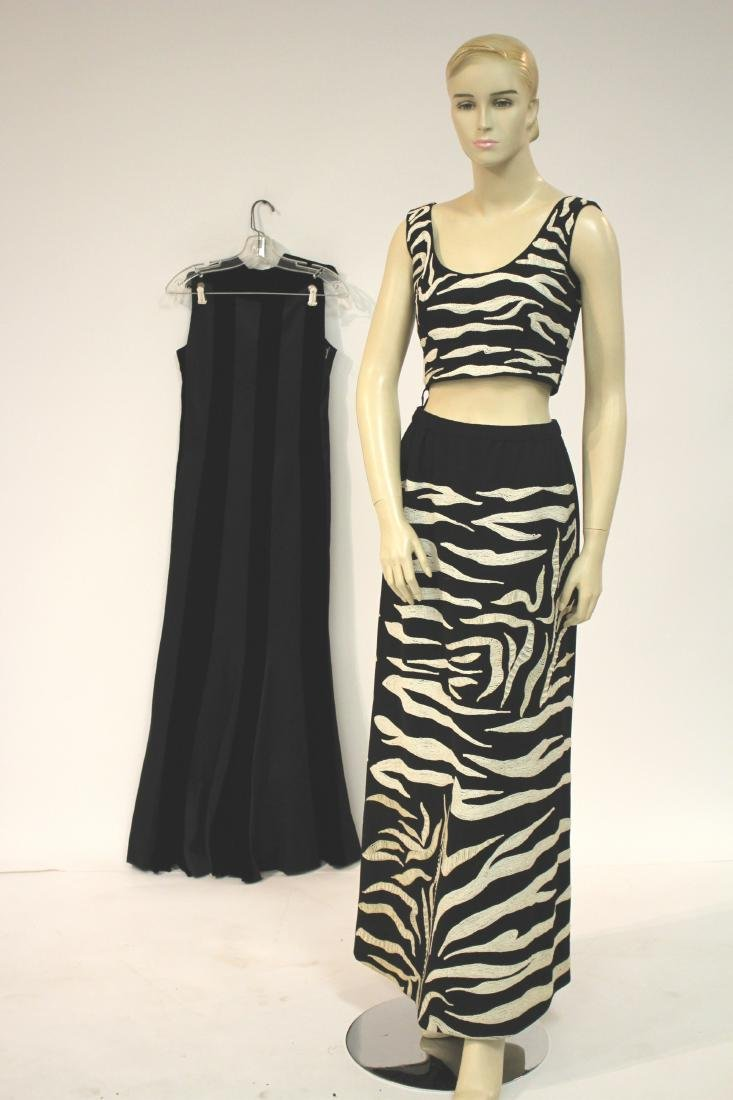 Zebra Embroidered Outfit and Long Velvet Dress - 5