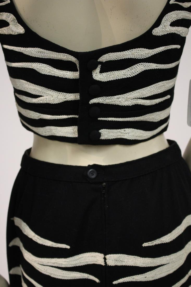 Zebra Embroidered Outfit and Long Velvet Dress - 8