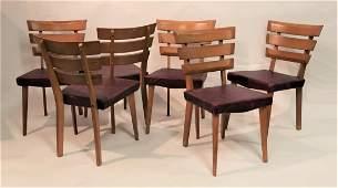 Set 6 Late Art Deco Side Chairs with Slat Backs