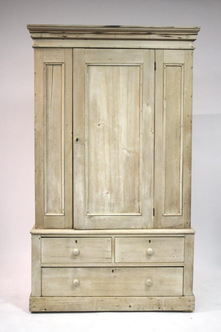 Stripped Pine 2-Part Pine Cabinet/Armoire
