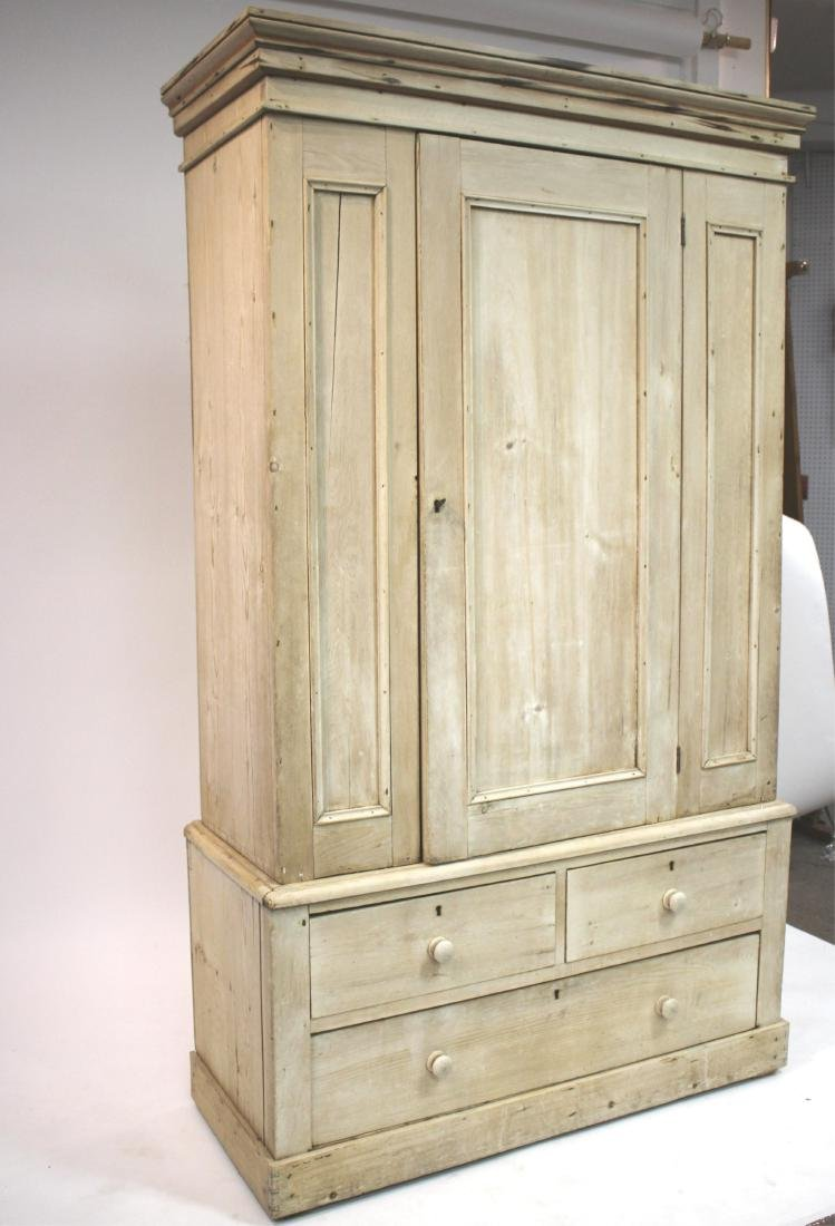 Stripped Pine 2-Part Pine Cabinet/Armoire - 2