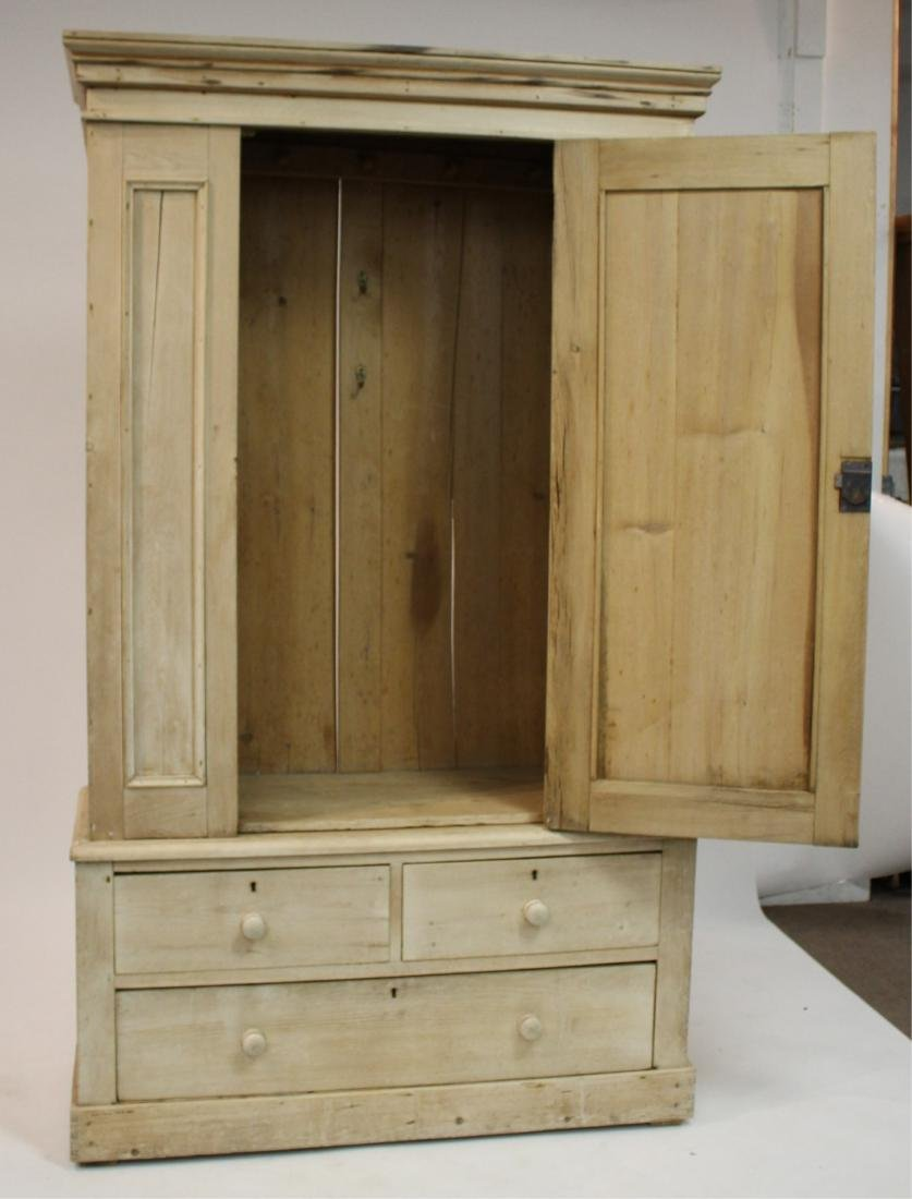Stripped Pine 2-Part Pine Cabinet/Armoire - 3