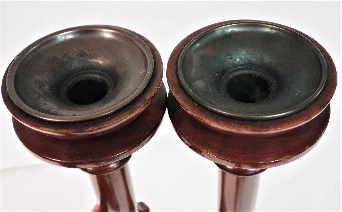 """Pair Mahogany Neoclassical Candle Stands, 42"""" H - 2"""