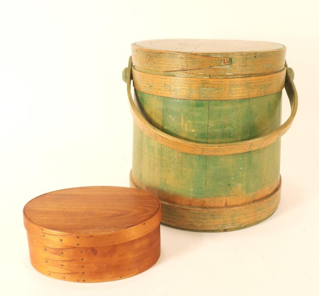 Oval wooden Shaker Box along with Firkin