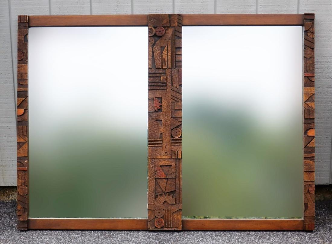 Paul Evans-Style Brutalist Mirror by Lane