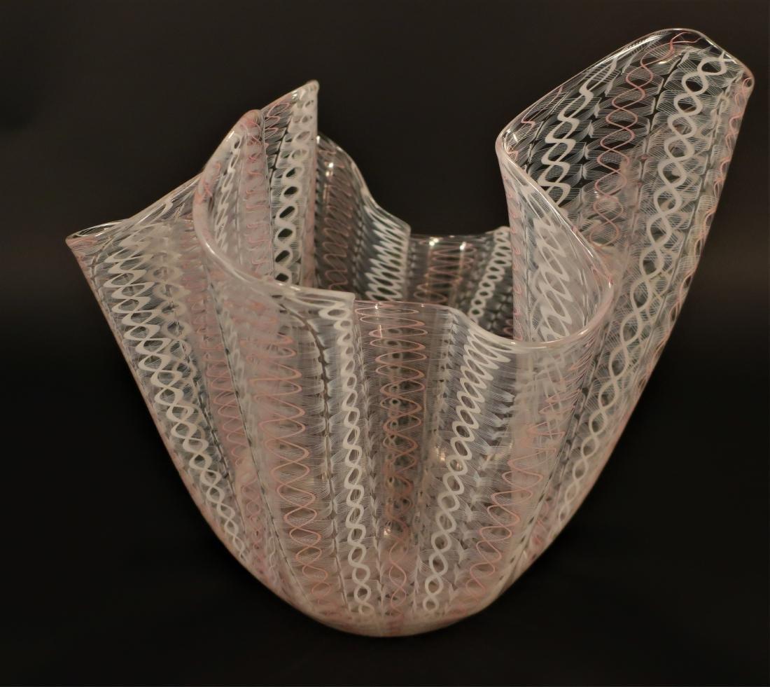 Murano Latticino Glass Vase,signed
