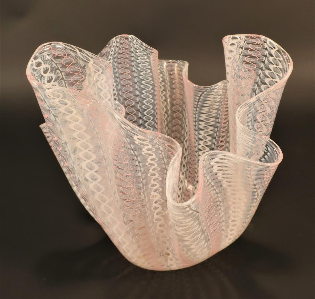 Murano Latticino Glass Vase,signed - 2