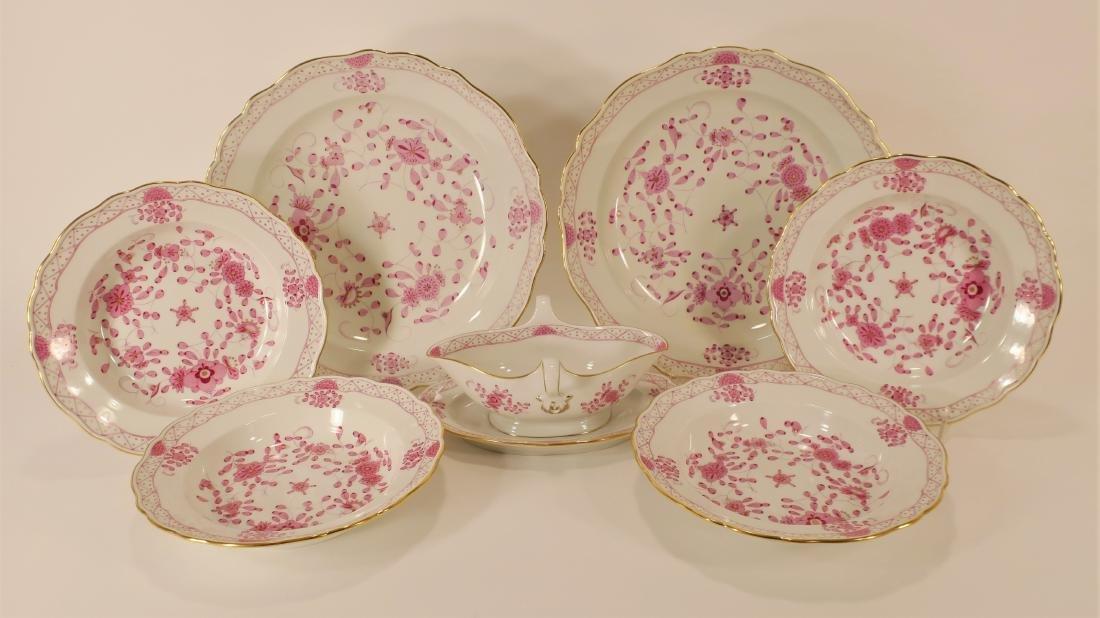 Seven Meissen Porcelain Pink Camieu Serving Pcs.