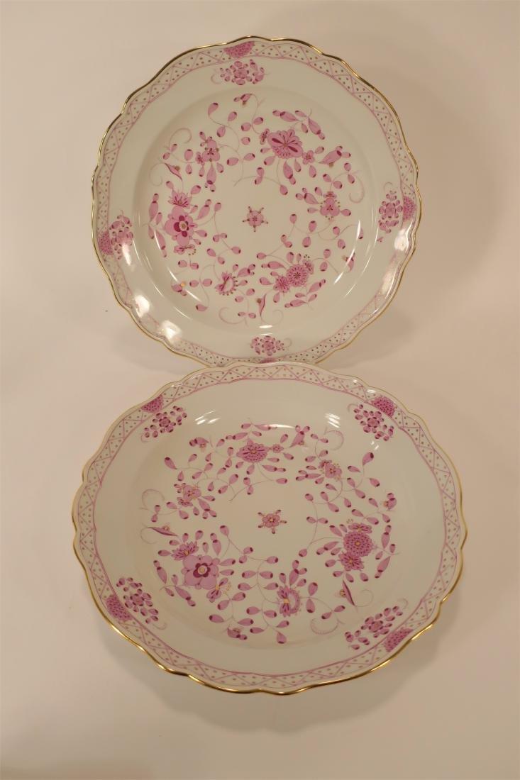 Seven Meissen Porcelain Pink Camieu Serving Pcs. - 2