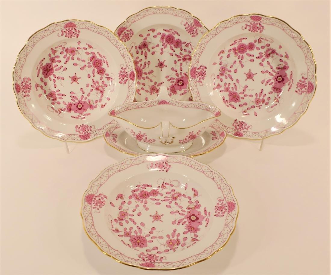 Seven Meissen Porcelain Pink Camieu Serving Pcs. - 3