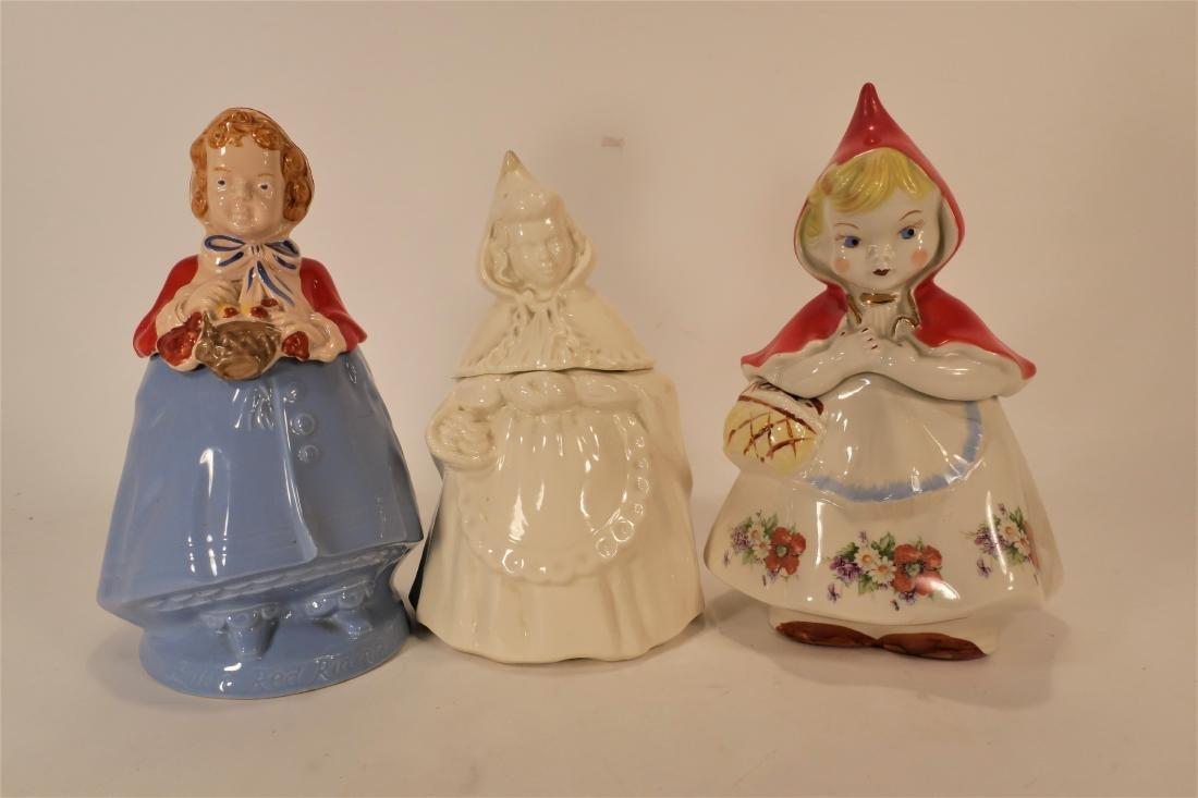 Little Red Riding Hood Three Ceramic Cookie Jars