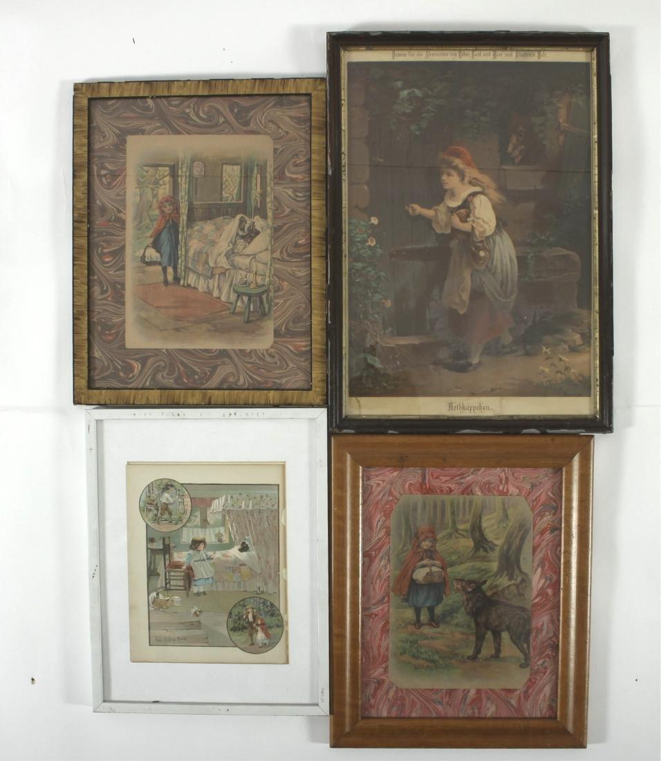 Little Red Riding Hood Vintage Framed Prints - 2
