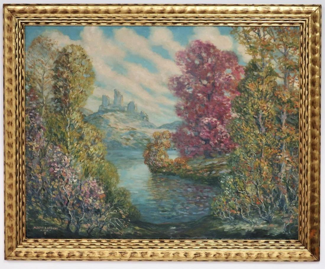 Albert G. VonStrode, River with Ruins, 1930, O/B