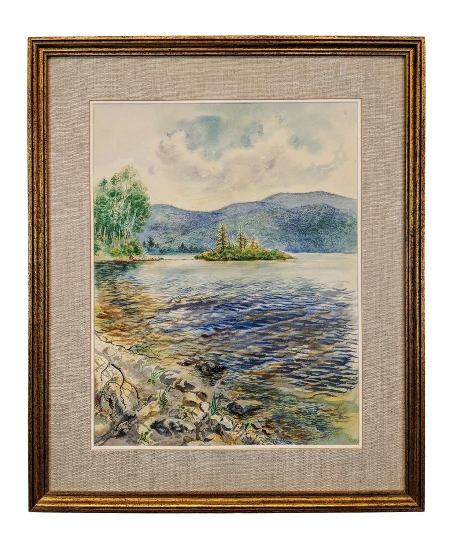 George Grosz, Ger., Lake Scene Watercolor