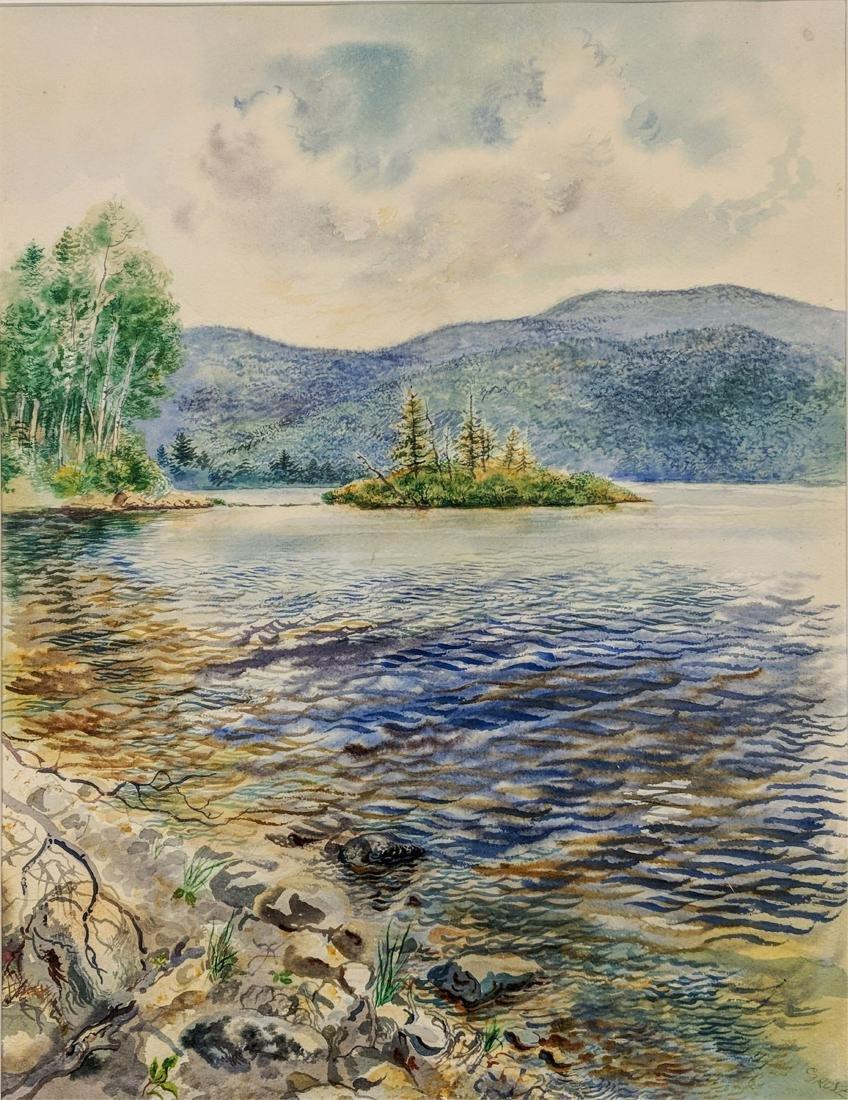 George Grosz, Ger., Lake Scene Watercolor - 2
