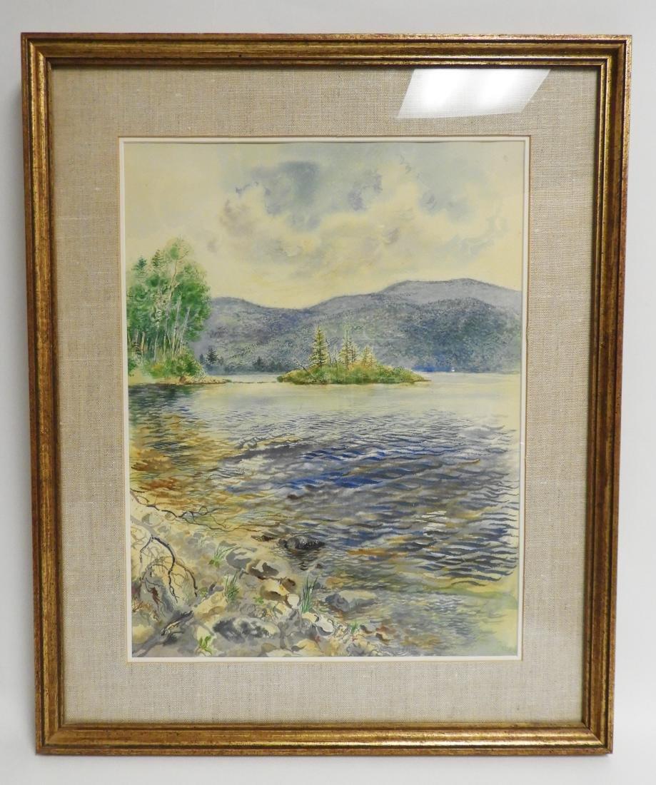 George Grosz, Ger., Lake Scene Watercolor - 3