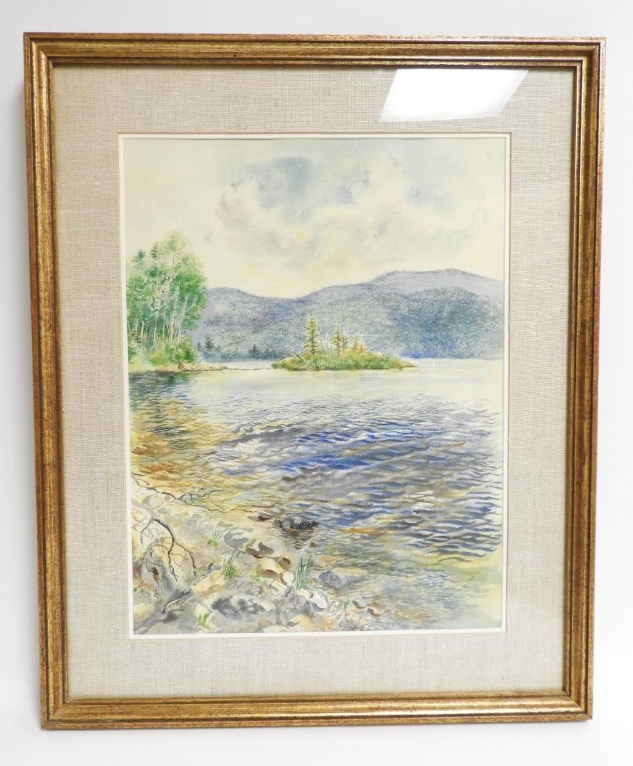 George Grosz, Ger., Lake Scene Watercolor - 4
