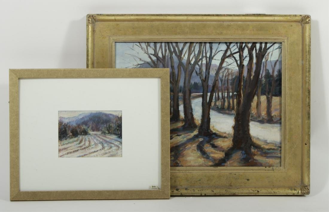 Sandra Rubel, Two Rural Landscapes, O/C & a Pastel