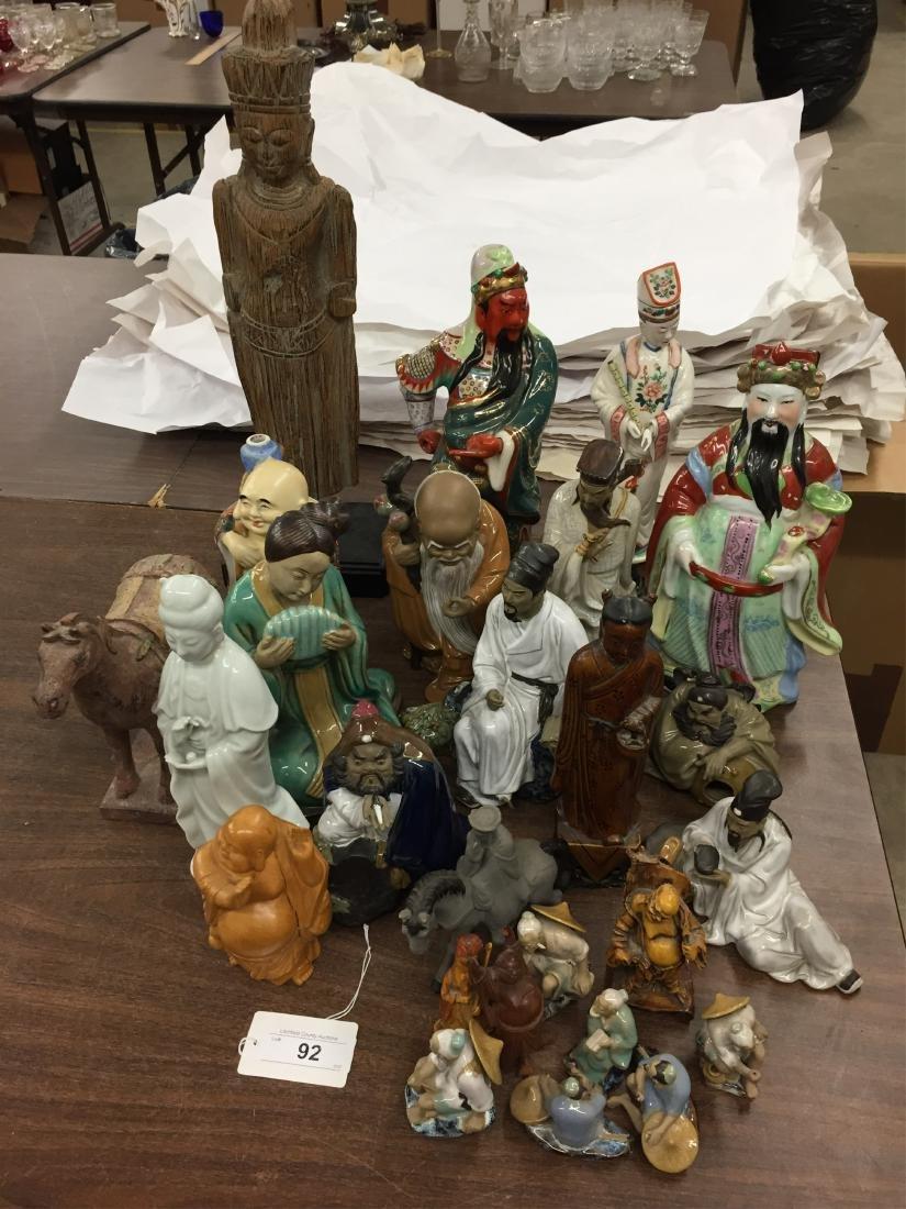 Decorative Asian Figures:  Pottery, Ceramic, Wood