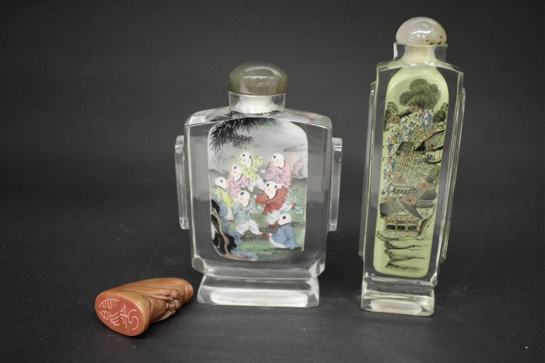4 Chinese Snuff Bottles and a Rouge Box - 2